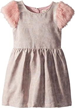Shimmer Faux Leather and Fur Fleur Dress (Toddler/Little Kids/Big Kids)