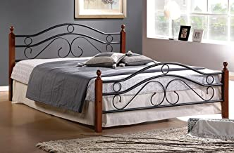 MALKO Metal Bed Frame with Wood Posts and Mattress Support (Queen)