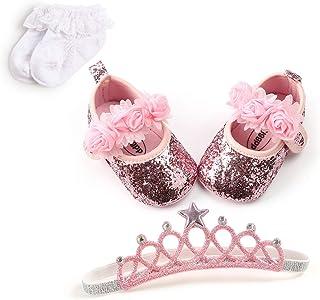 Best Baby Infant Girls Soft Sole Floral Princess Mary Jane Shoes Prewalker Wedding Dress Shoes Review