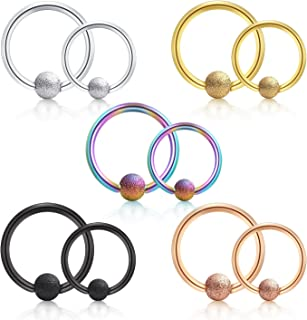 vcmart Cartilage Tragus Earrings Anti-Helix Daith Rook Conch Snug Earring Hoop Nose Lip Rings Stainless Steel Piercing 16G 10PCS