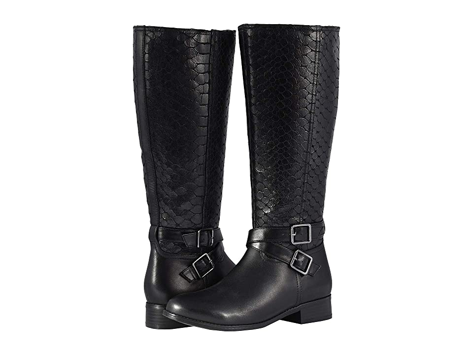 Trotters Liberty Wide Calf (Black Burnished Leather/Embossed Anaconda) Women