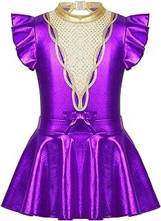 renvena Kids Girls Metallic Halloween Dance Leotard Dress Flutter Sleeves Ballet Dance Gymnastics Tutu Skirt