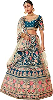 A Line Indian Woman wedding Teal Blue Zari & sequin Designer Lehenga Choli Ghagra Dupatta 6314