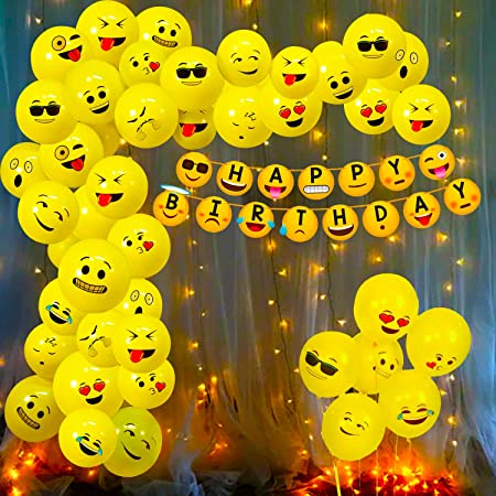 Party Propz Emoji Theme Birthday Decoration Kit Combo - 52Pcs Banner, Balloon, Led Light Set for Kids, Boys,Girls Party Supplies/ Smiley Birthday Items/ Kids Birthday Party Decoration Items