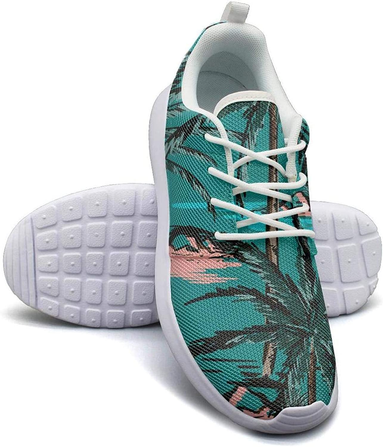 CHALi99 Fashion Women Lightweight Mesh shoes Tropical Floral Summer Beach Palm Sneakers Walking Rubber Sole