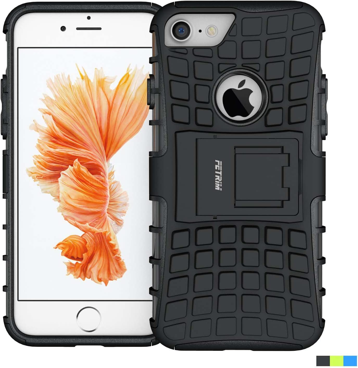 iPhone 7 Case,Fetrim Rugged Dual Layer Shockproof TPU Case Protective Cover for Apple iPhone 7/8 with Built-in Kickstand (Black)