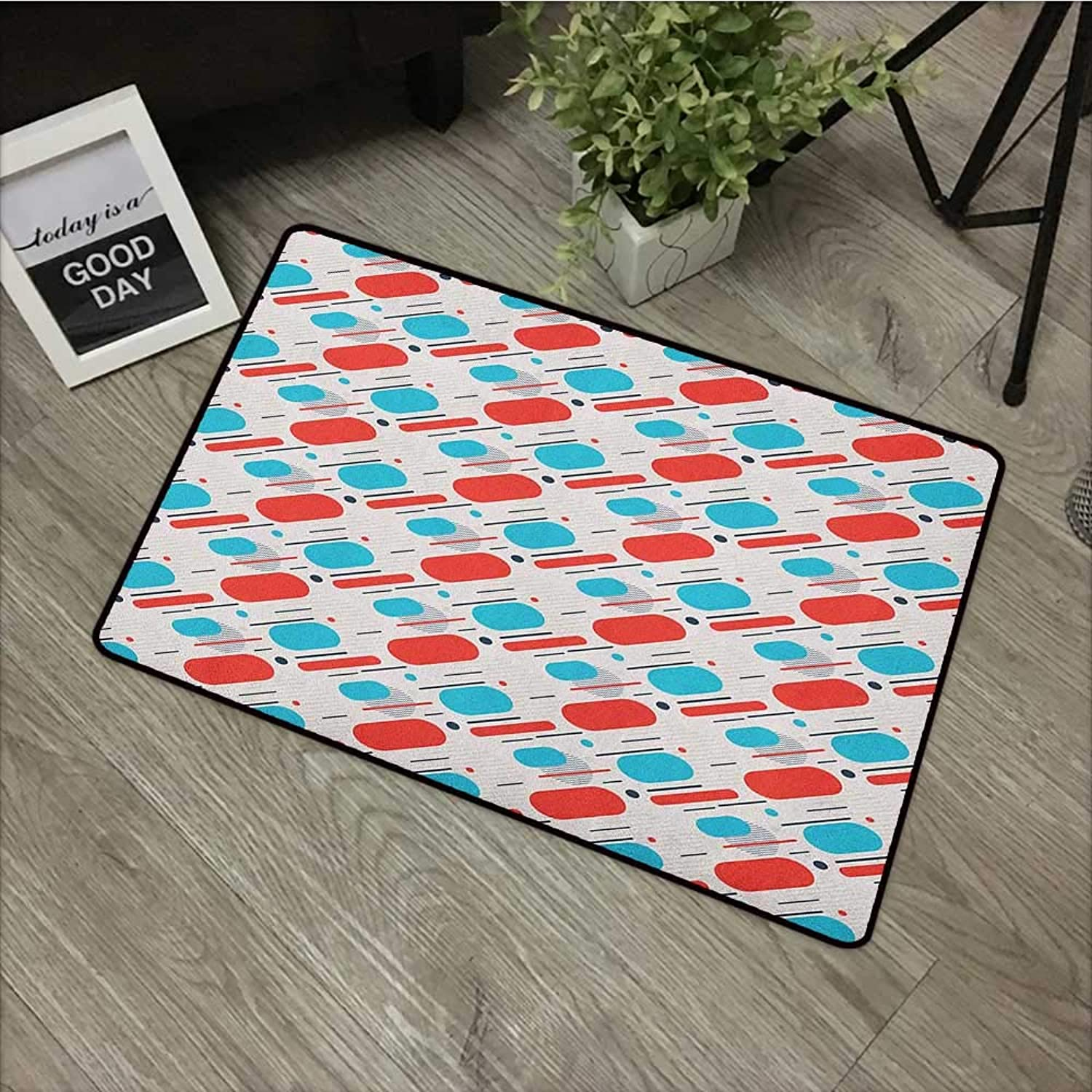 Printed door mat W35 x L59 INCH Geometric,Abstract Line and Stripes Abstract Minimalism Design Inspired Motion Illustration, Multicolor Easy to clean, no deformation, no fading Non-slip Door Mat Carpe