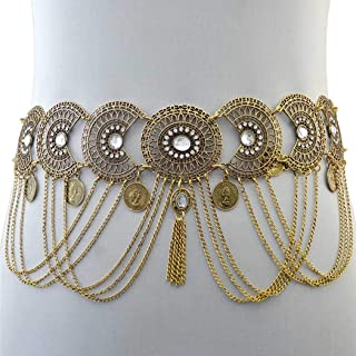 Nicute Rhinestone Waist Chain Coins Tassel Body Chains Belly Jewelry for Women and Girls (Gold)