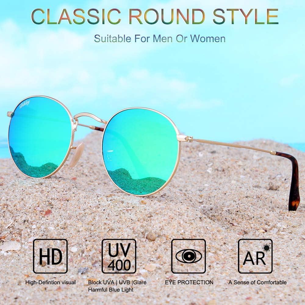 DIKLEY Classic Crystal Glass Lens Retro Square//Aviator//Round Metal Frame Sunglasses for Men Women,100/% UV400 Protection