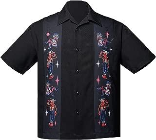 Men's Neon Vegas Mini Panel Button Up Bowling Shirt Black