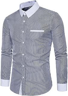 Mens Stripe Dress Shirt Slim Fit Spread Collar Fashion Long Sleeve Formal Blouse