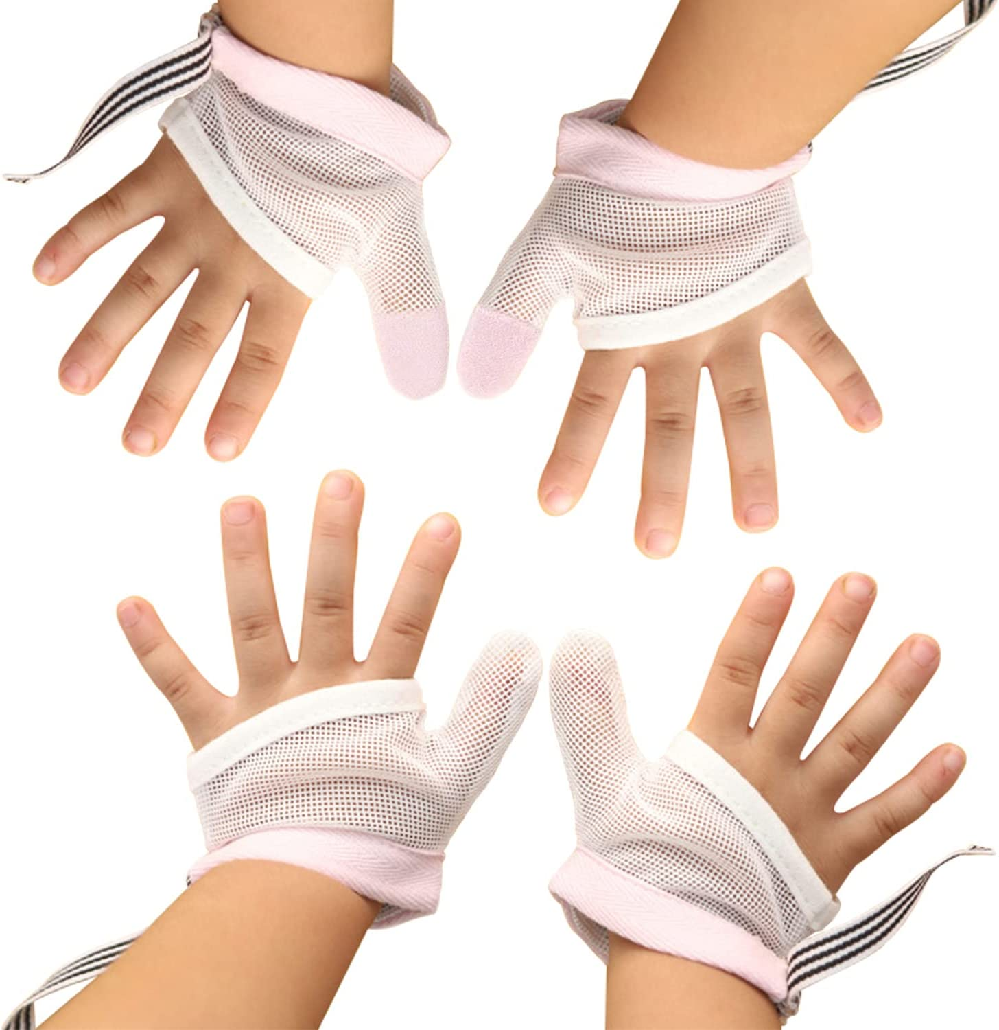 2 Pairs Thumb Guard for Kids Stop Thumb Sucking Baby Toddler Fingers Treatment Kit with Wrist Band(Red+M)