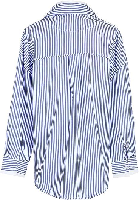 Blusa de Manga Larga con Costuras Falsas a Rayas Azules de ...