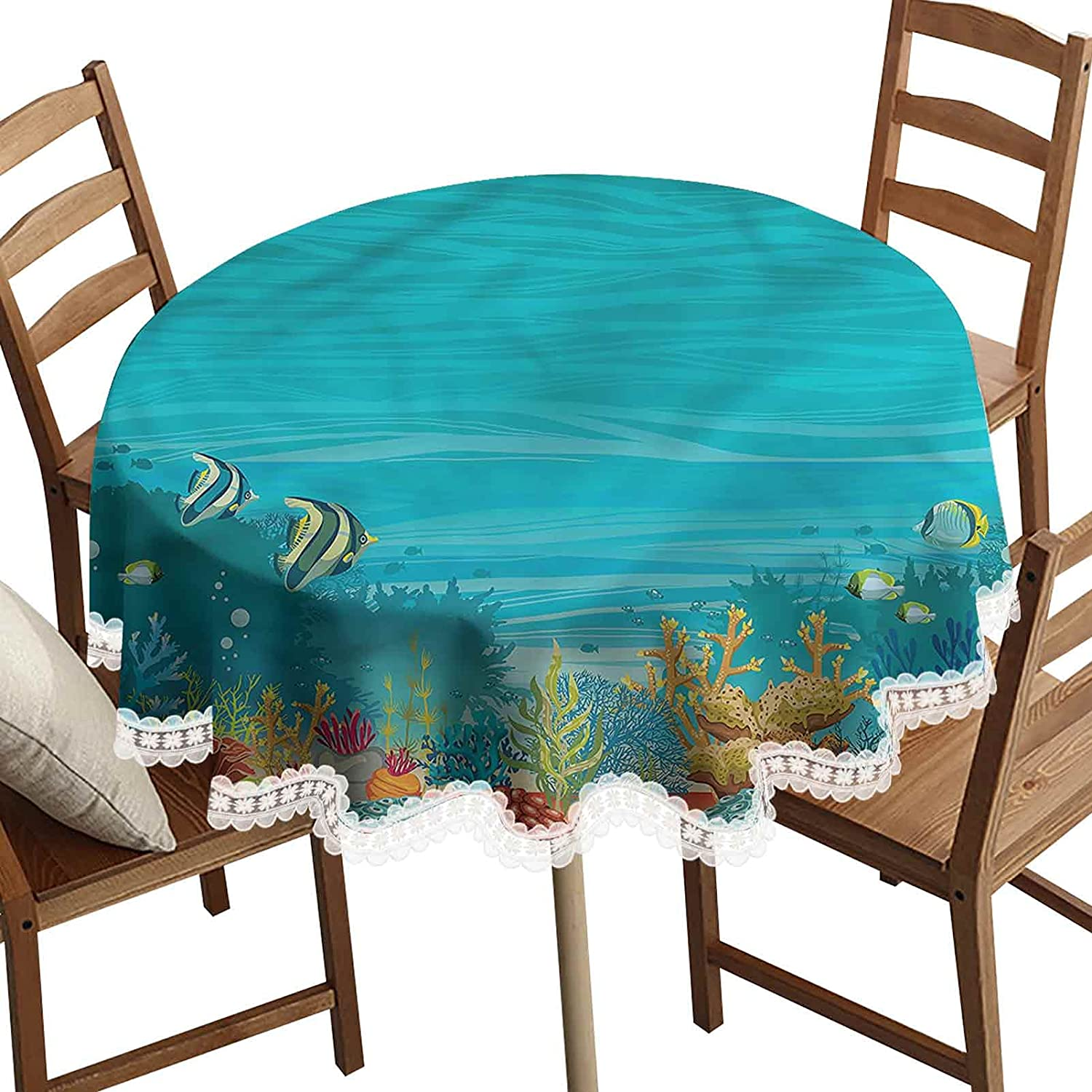 Underwater Decorative 2021 spring and summer new Round Table Cloth Plants Starfish W Time sale Sponge