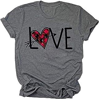 قمصان نسائية من Beopjesk لعيد الحب بأكمام قصيرة مطبوع على شكل قلب