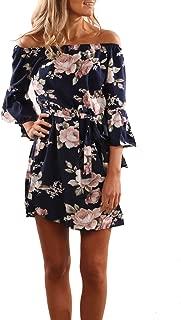 Women's Summer Dresses Off Shoulder 3/4 Sleeve Floral Mini Beach Dress