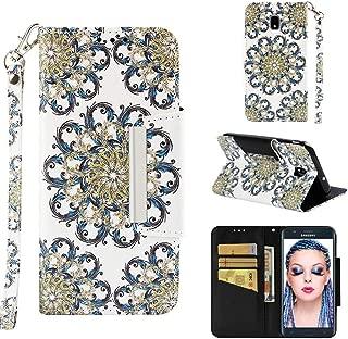 Samsung Galaxy J7 Aero/J7 Top/J7 Crown/J7 Aura/J7 Refine/J7 Eon/J7 Star Glitter Case, UZER UZER 3D Premium PU Leather Kickstand [Wrist Strap] Wallet Case with Cash/Card Slots Book Case for J7 2018