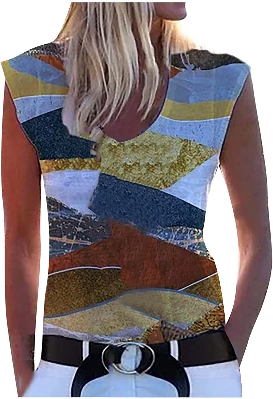 Haozin Womens Plus-Size Casual Tank Tops Fashion Deep V-Neck Printing Sleeveless Vest Blouse