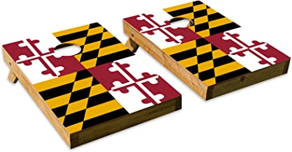 Maryland State Flag DesignCornhole/Bean Bag Toss Board Set – Made in USA Wood - 2'x3' Tailgate Size - Includes 8 Corn-Filled Bean Bags