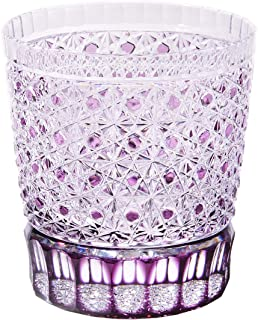 クリスタル江戸切子 菊籠目紋 オールドグラス (紫) TB5136-56 桐箱入り 太武朗工房直販 日本製