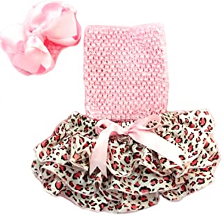 Baby Girls Ruffle Satin Bloomers Set with Tube Top and Headband