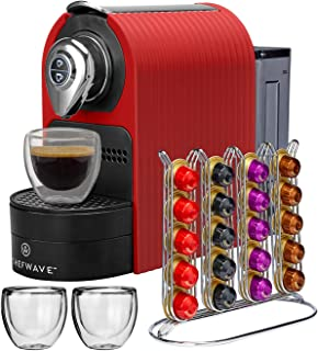 ChefWave Mini Espresso Machine - Nespresso Capsules Compatible - Programmable One-Touch 27 Oz. Water Tank, Premium Italian 20 Bar High Pressure Pump - 40 Pod Holder, 2 Double-Wall Glass Cups - Red
