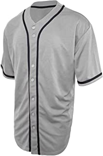 Men's Athletic-Inspired Basic Button-Down Baseball Jersey