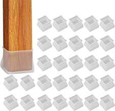 32Pcs Furniture Silicone Protection Cover - Square Silicone Chair Leg Floor Protectors, Fit Square Length 1-3/8 inches to ...