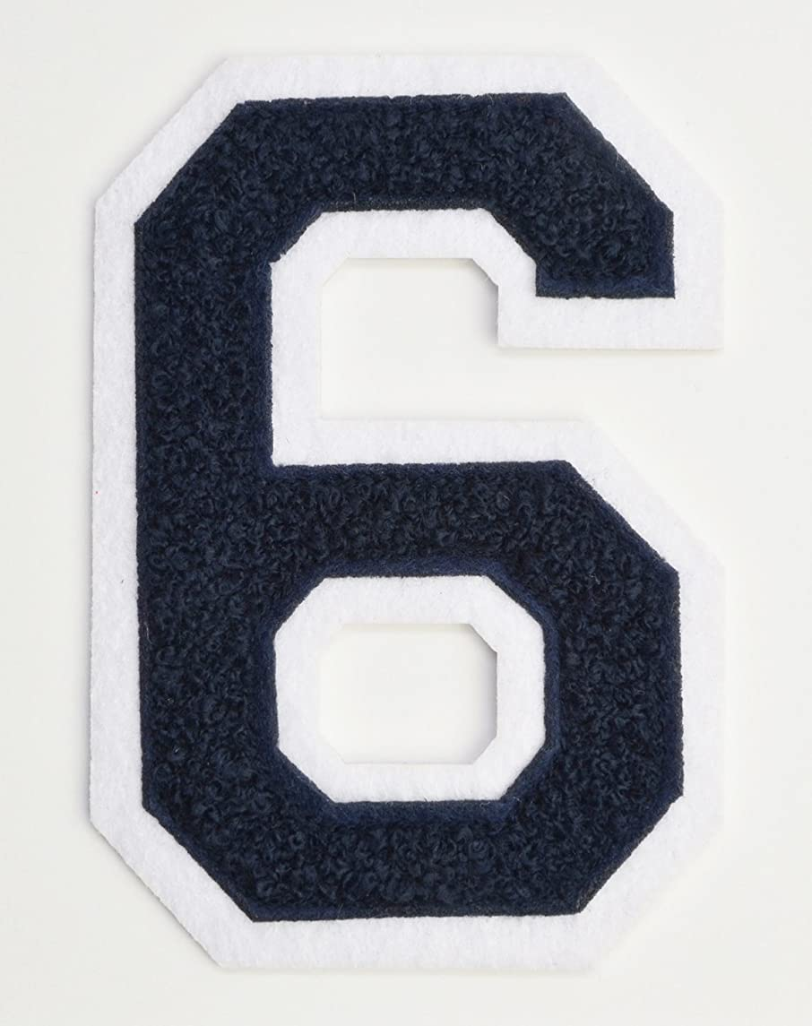 Varsity Number Patches - Dark Navy Blue Embroidered Chenille Letterman Patch - 4 1/2 inch Iron-On Numbers (Navy Blue, Number 6 Patch)