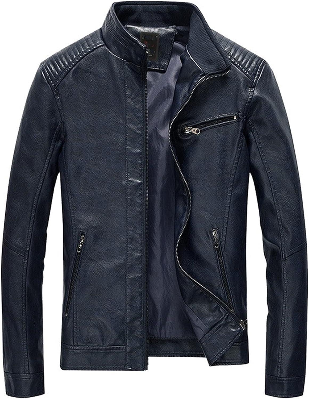 XYXK Men's PU Jackets Coats Motorcycle Leather Jackets Men Autumn Leather Clothing Black Leather Coats for Men (Color : Dark Blue, Size : XX-Large)
