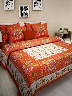 JAIPUR PRINTS Shop 144 TC 100% Cotton Rajasthani Jaipuri Traditional King Size Double Bedsheet with 2 Pillow Covers
