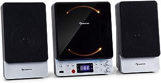 auna Microstar – Minicadena de música Vertical, Reproductor de CD, Bluetooth, Altavoces estéreo, USB, Pantalla LCD, ilumin...