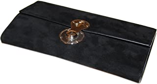 Collection Womens Suede Leather Clutch Wallet Italy Black Silver