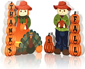 2 Pieces Fall Tiered Tray Decor Wooden Centerpiece Thanksgiving Boy and Girl Scarecrow Wooden Table Toppers Turkey Tabletop Centerpiece Decor for Fall Tabletop Home Decor