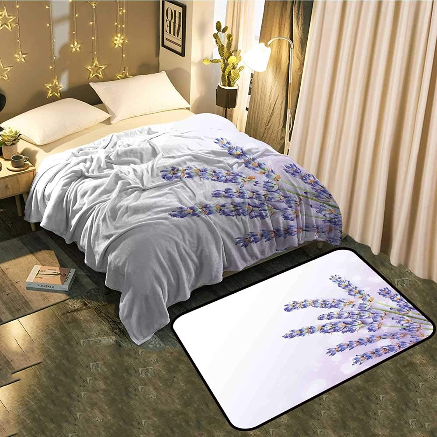 Bedside Blanket Doormat suitPosy of Medicinal Herb Fresh Plant of Purple Flower Spa Aromatheraphy Organic Lavander Cozy and Durable Blanket 50 x70  Mat 2'X4'
