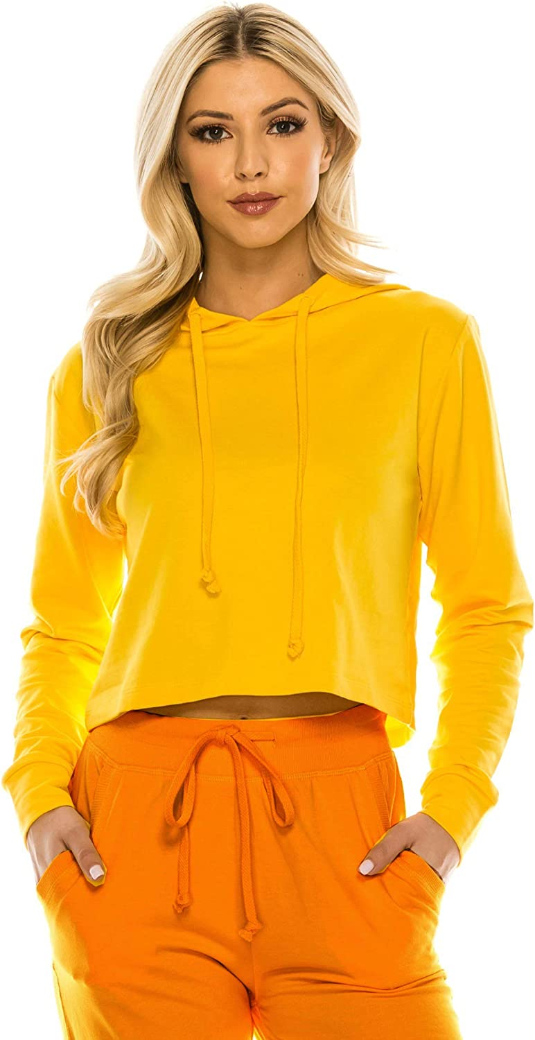 RENESEILLE Women's Crop Hoodie Sweatshirt - Casual French Terry Cropped Long Sleeve Workout Active Pullover Sweater Top