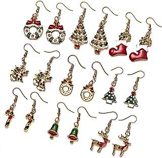 LLYX 9pcs Orecchini di Natale Orecchini di Natale regali di Natale Regali di Natale e Babbo Natale Snowman Snowflake Renna...
