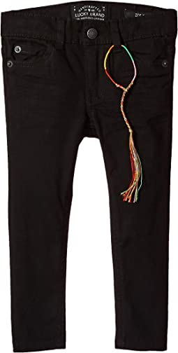 Zoe Five-Pocket Colored Brushed Jeans in Black (Little Kids)