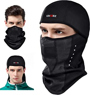 KINGBIKE Balaclava Ski Mask Motorcycle Running Full Face Cover Windproof Waterproof Neoprene With Micro-polar Fleece Masks Black for Men Women Warm Winter Cold Weather Gear Cycling(Lycra+Fleece,black)