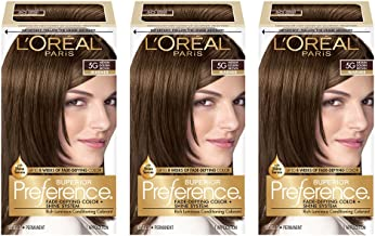 L'OrÃal Paris Superior Preference Fade-Defying + Shine Permanent Hair Color, 5G Medium Golden Brown, 3 Count, Hair Dye