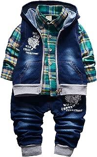 Spring Autumn Baby Boys 3pcs Clothing Set Cotton Shirt Jeans Denim Vest