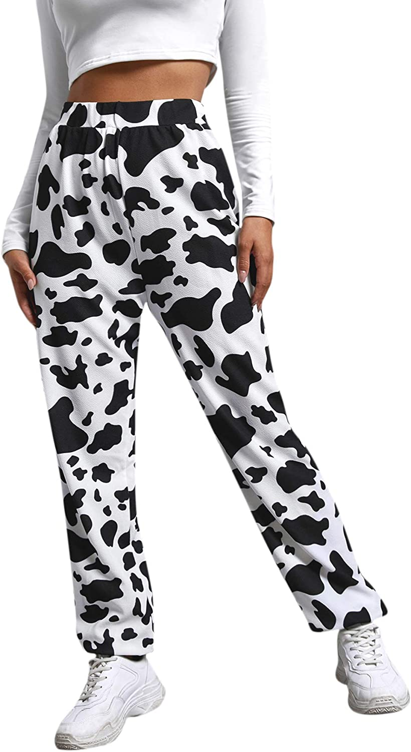 Shipping included WDIRARA Women's Cow Print Ranking TOP13 Elastic Long Sporty High Waist Joggers