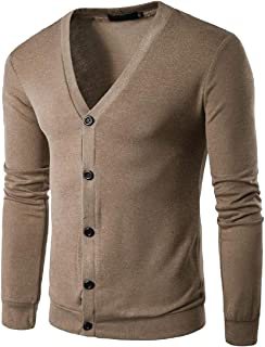 Mens V-Neck Long Sleeve Knitted Button Down Cardigan Sweater with Ribbing Edge