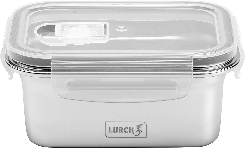 Lurch 240890 Fiambrera de Seguridad de Acero Inoxidable de Alta Calidad con Tapa de plástico sin BPA, 500 ml