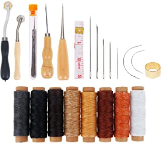 Leather Tooling Kit 33 Pieces Hand Sewing Craft Tools Include Sewing Needles, Waxed Thread, Drilling Awl for DIY Leather Craft