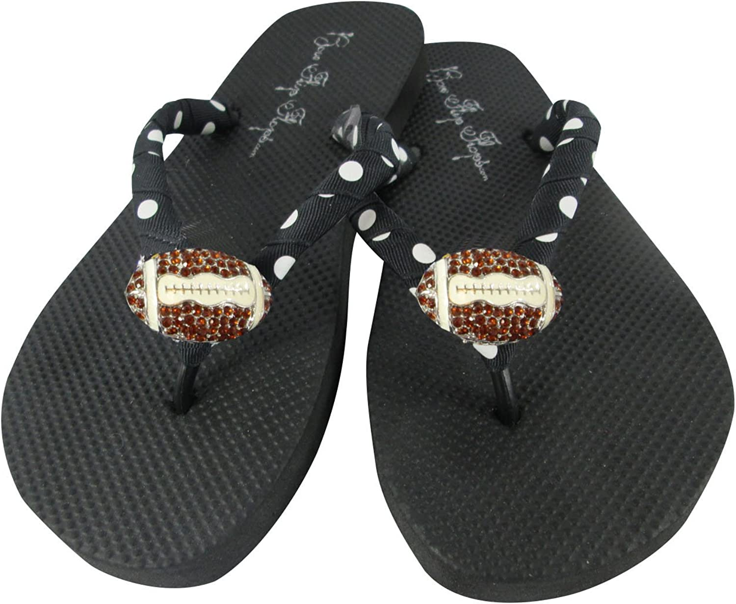 Polka Dot Black and White Football Rhinestone Flip Flops