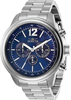 Invicta Men's Aviator Quartz Watch with Stainless Steel Strap, Silver, 22 (Model: 28895)