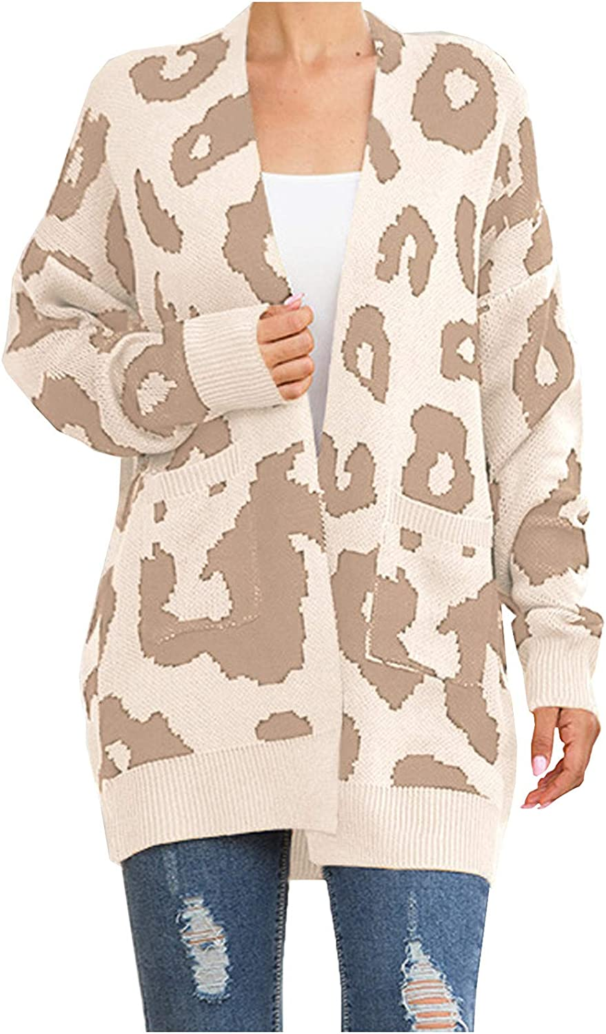 Womens Sweater Leopard Printed Open Super beauty product restock quality top Comfor Front Max 75% OFF Cardigan Jacket