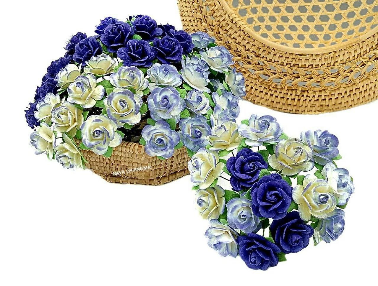 NAVA CHIANGMAI 60 pcs Rose 20mm Purple Mulberry Paper Flowers handmade craft project cardmaking Floral Valentine