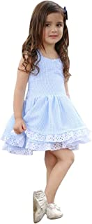 Toddler Girl Dress, Cool Summer Young Girl Blue Striped Lace Suspender Party Pageant Dress